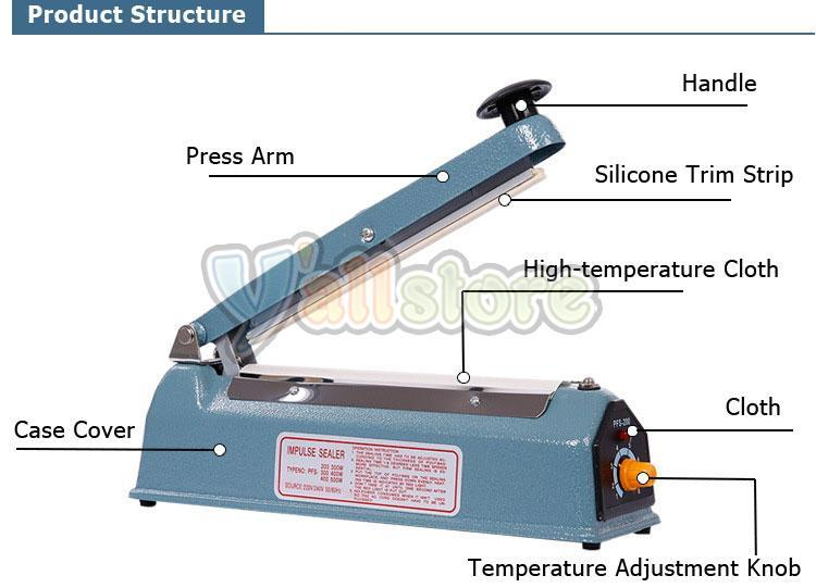 "NEW 16/"" Hand Impulse Heat Sealing Sealer Machine Poly Element Plastic Sealer"