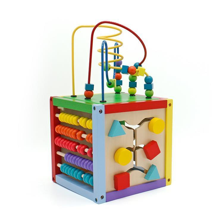 Wooden Activity Cube Bead Maze Kids Baby Preschool Educational Center Play Toy
