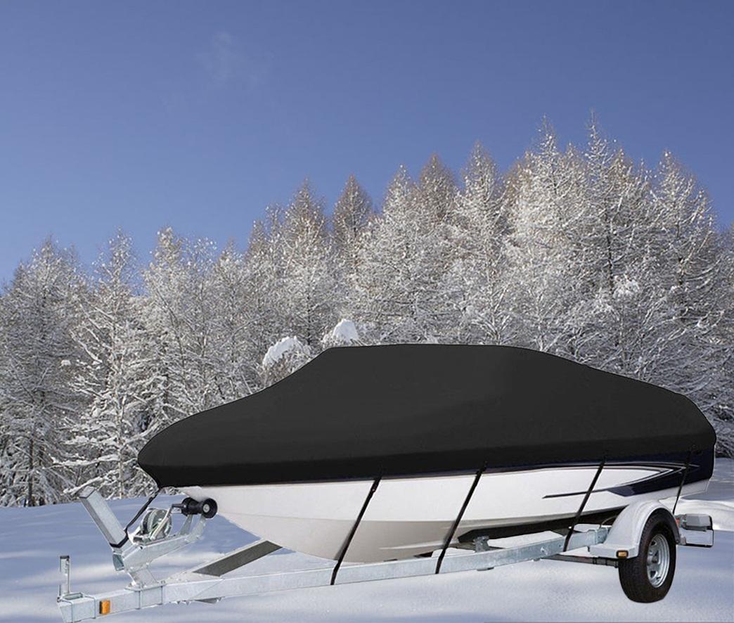 20/' 21/' 22/' Trailerable Fish Ski Boat Cover 600D Waterproof Beam 100 V-Hull Gray