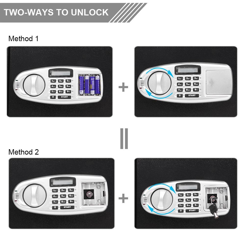Large Digit Depository Keypad Lock Gun Money Home Security Safe Box with Keys