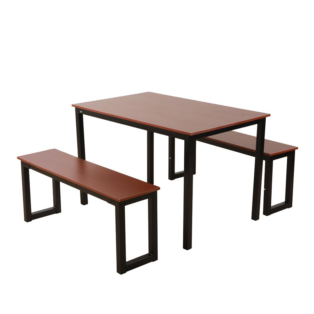 3 Piece Set Dining Table With 2 Kitchen Benches Steel Frame And