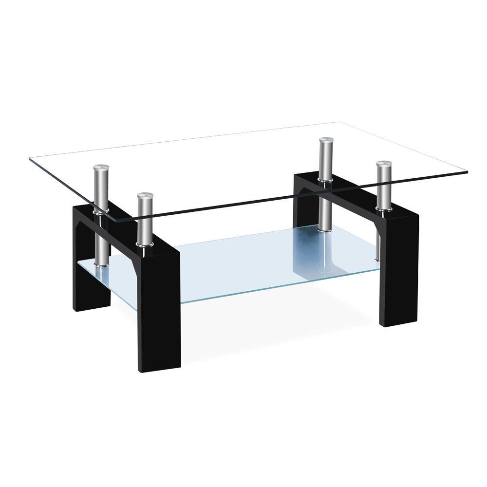 High Grade Rectangular Glass Coffee Table Shelf Living Room