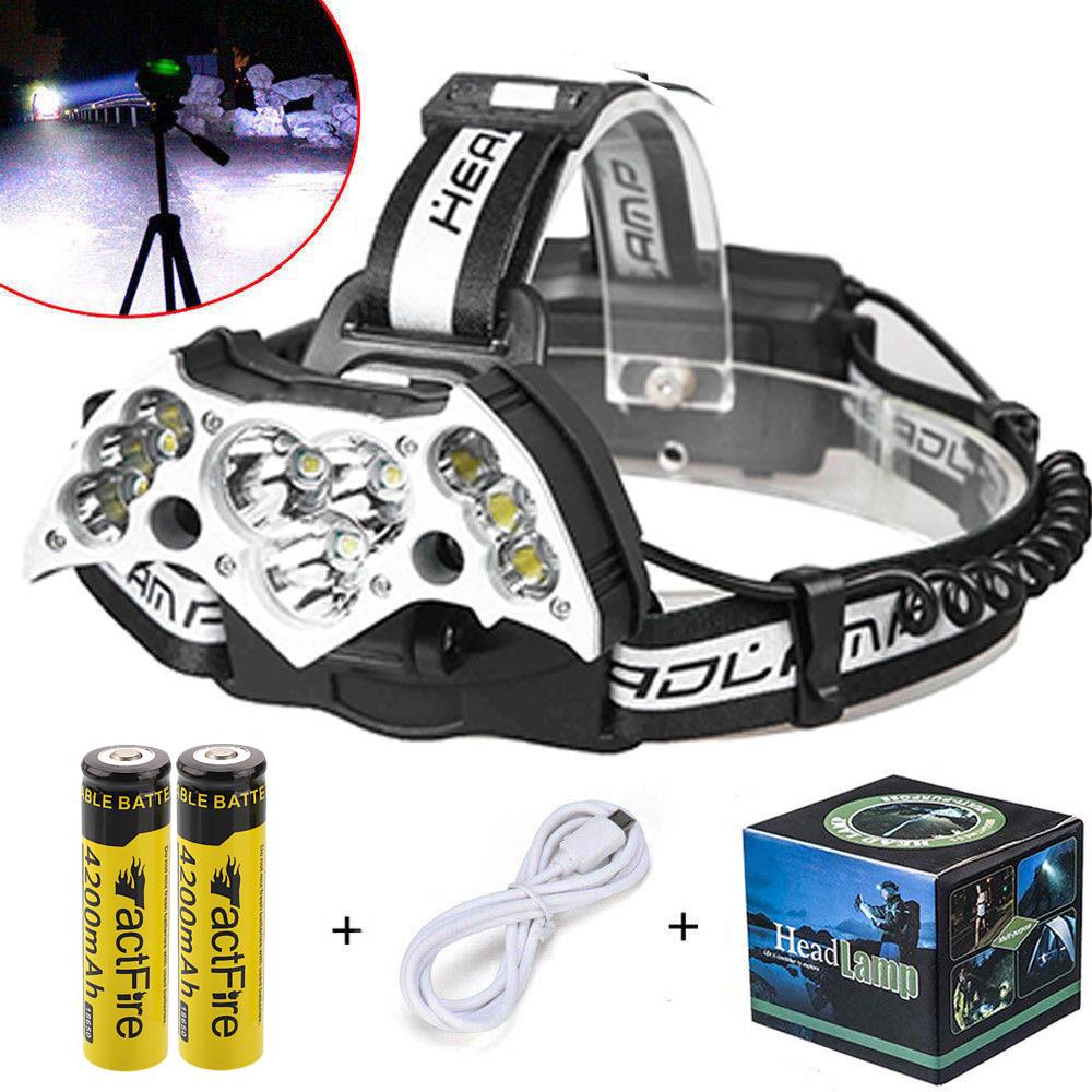 200000LM 9LED Headlamp USB Rechargeable 18650 Headlight Head Torch+Cable+Battery