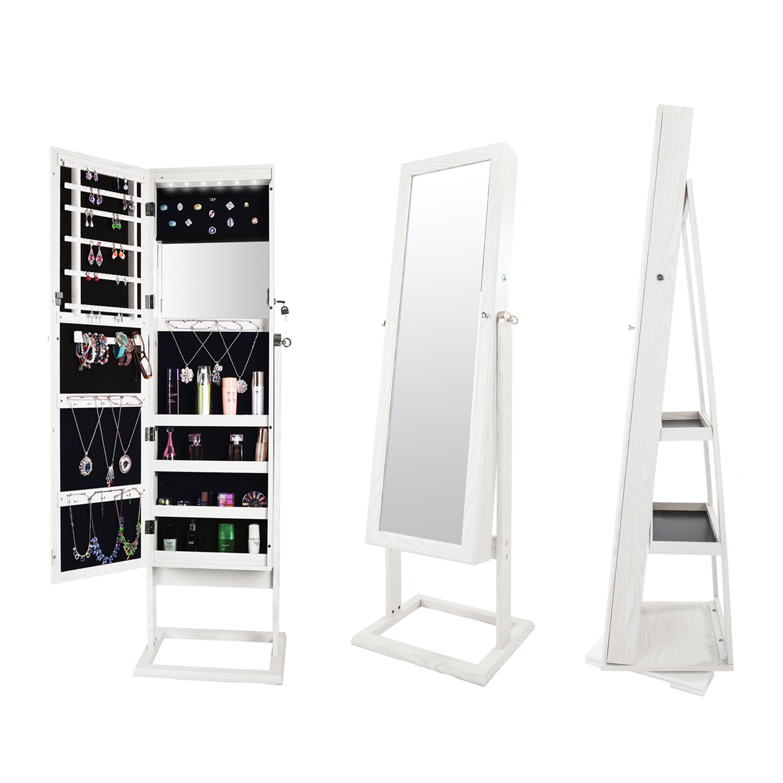 White Dressing Mirror Jewelry Cabinet Armoire Organizer ...