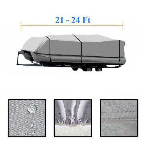 21-24ft 600D Heavy Duty Waterproof Fabric Trailerable Pontoon Boat Cover Gray MY