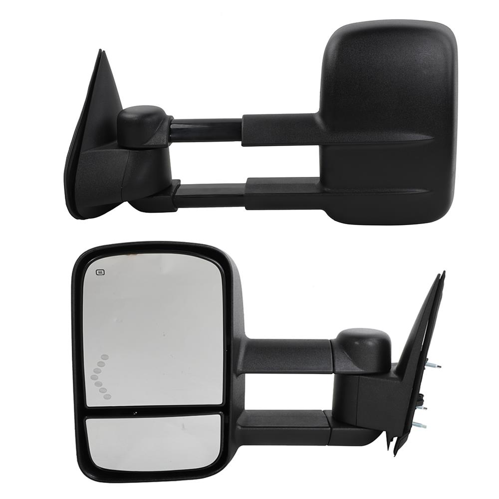 Smoke Power Heated LED Signals ARROW Towing Mirrors For 14-17 Silverado Sierra