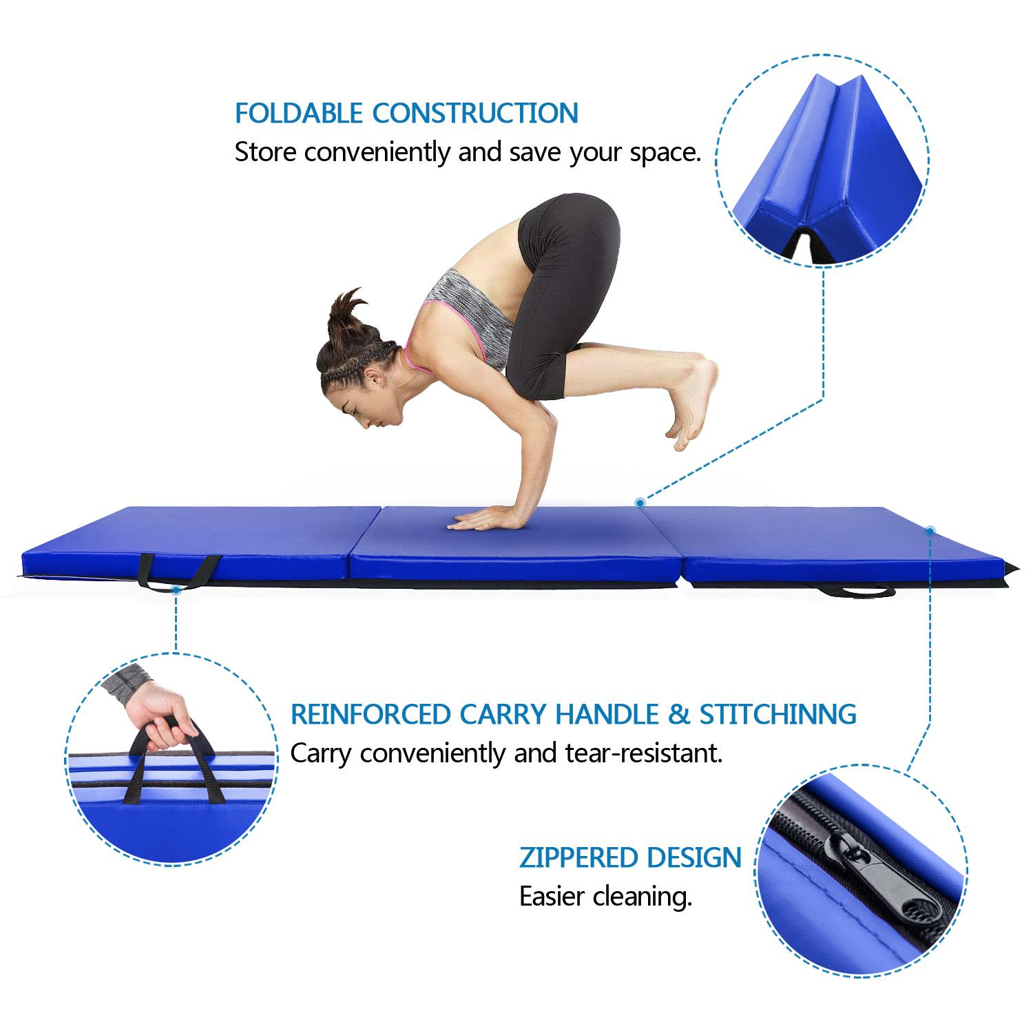 "6'x2'x2"" Folding Mat Thick Foam Fitness Exercise Gymnastics Panel Gym Workout 12"