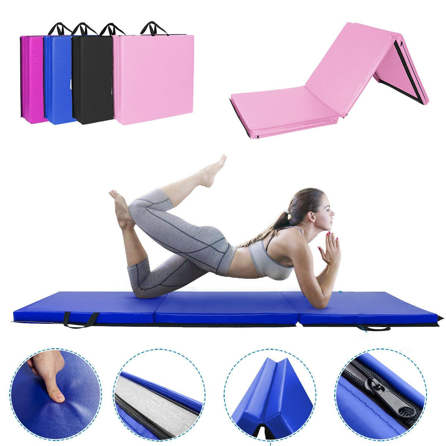 Details about  /Folding Mat Thick Foam Fitness Exercise Gymnastics Panel Gym Workout Pink