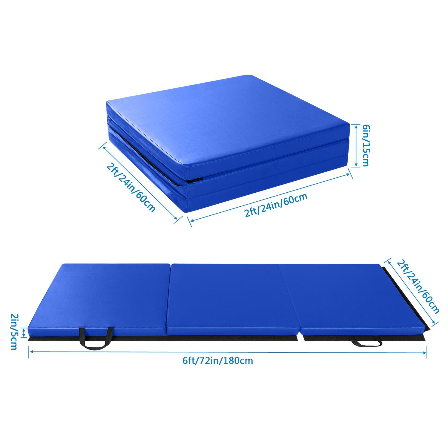 "6'x2'x2"" Folding Mat Thick Foam Fitness Exercise Gymnastics Panel Gym Workout 6"