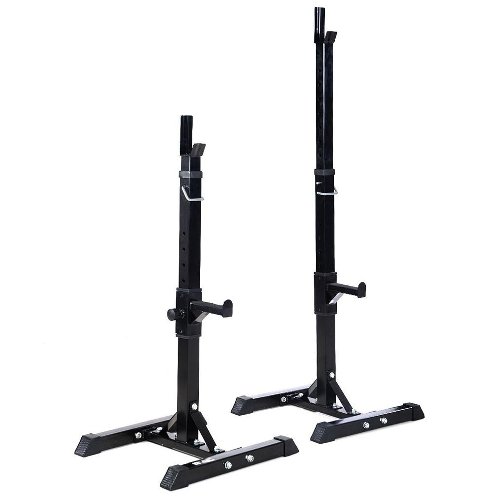 "Pair of Standard Solid Barbell Bench Adjust 41-66/"" Steel Squat Rack Stands Gym"