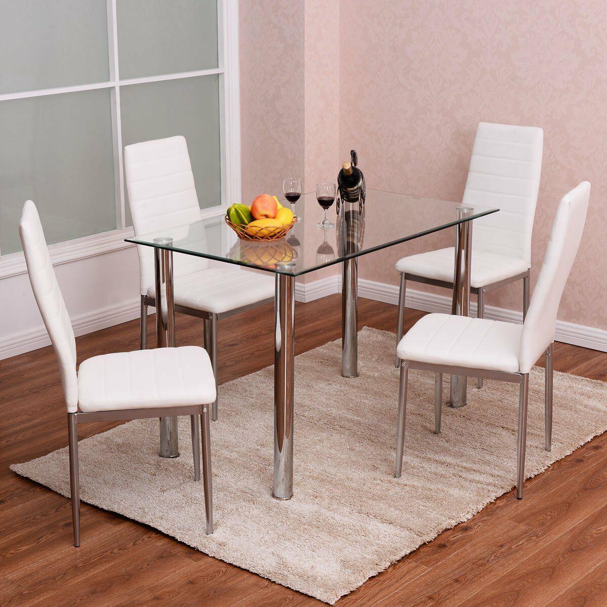 5 Piece Dining Table Set Glass Steel W 4 Chairs Kitchen Room Breakfast Furniture Ebay