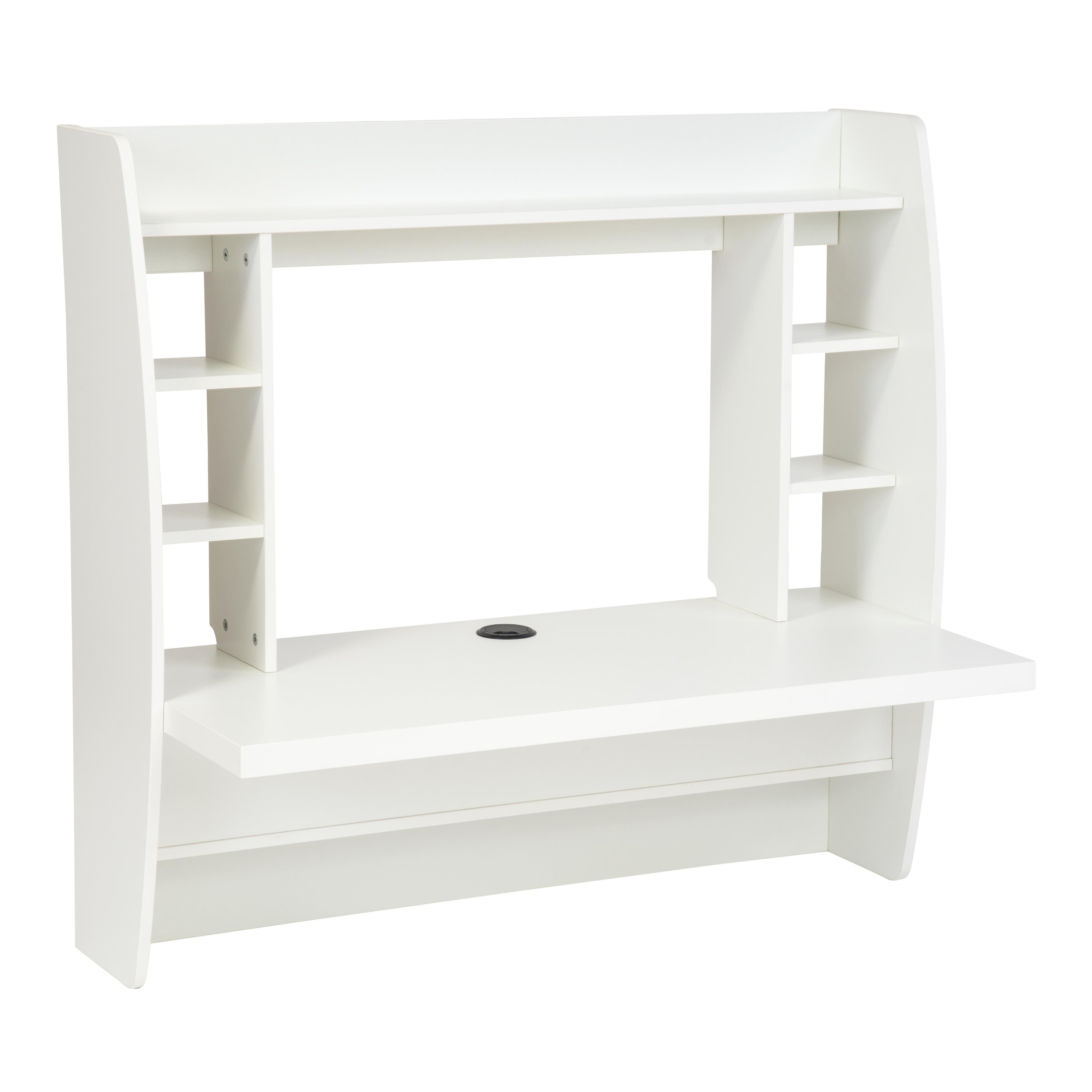 Details About Home Office Computer Desk Table Floating Wall Mount Desk W Storage Shelves White