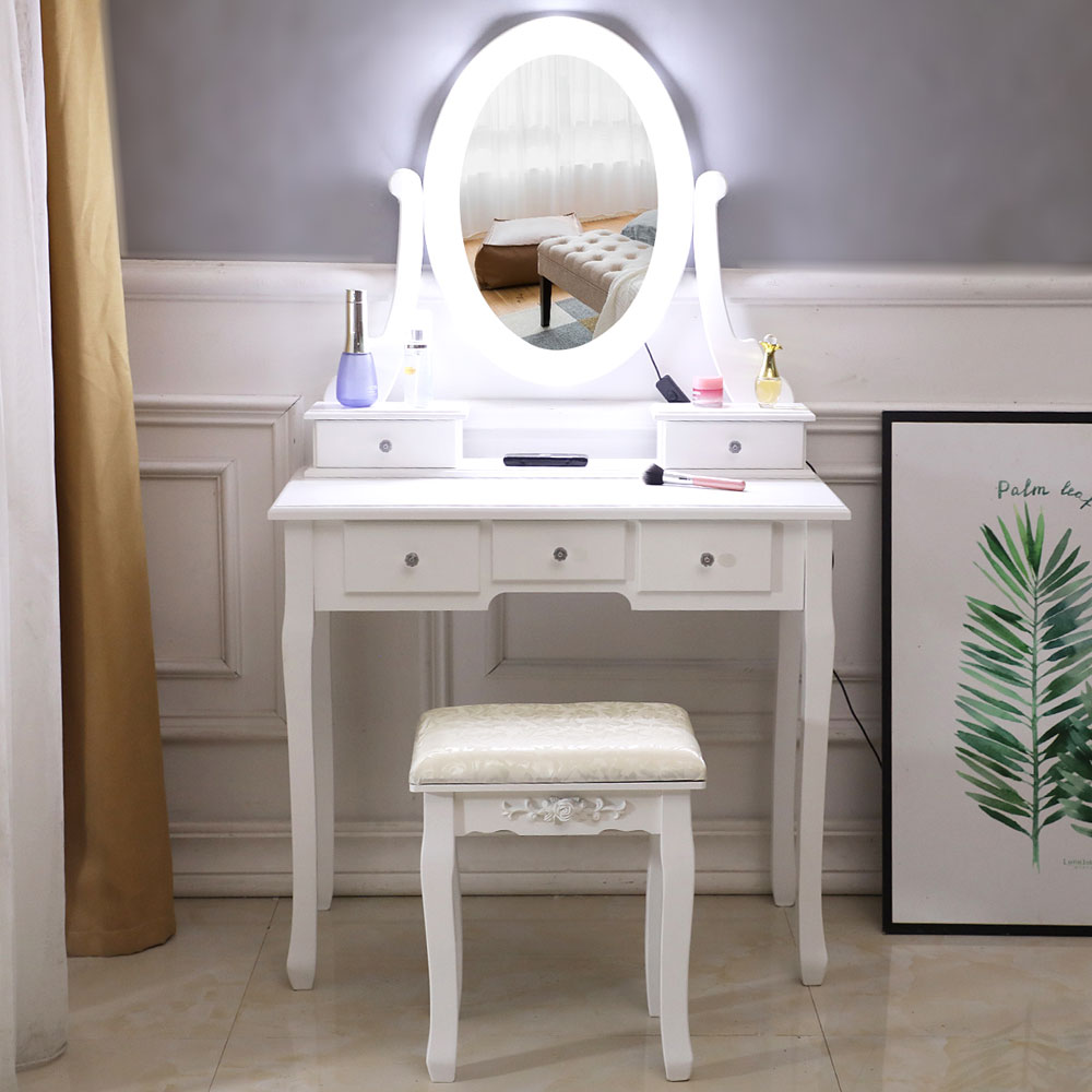 Vanity Table Set With Lighted Mirror Makeup Dressing Table With