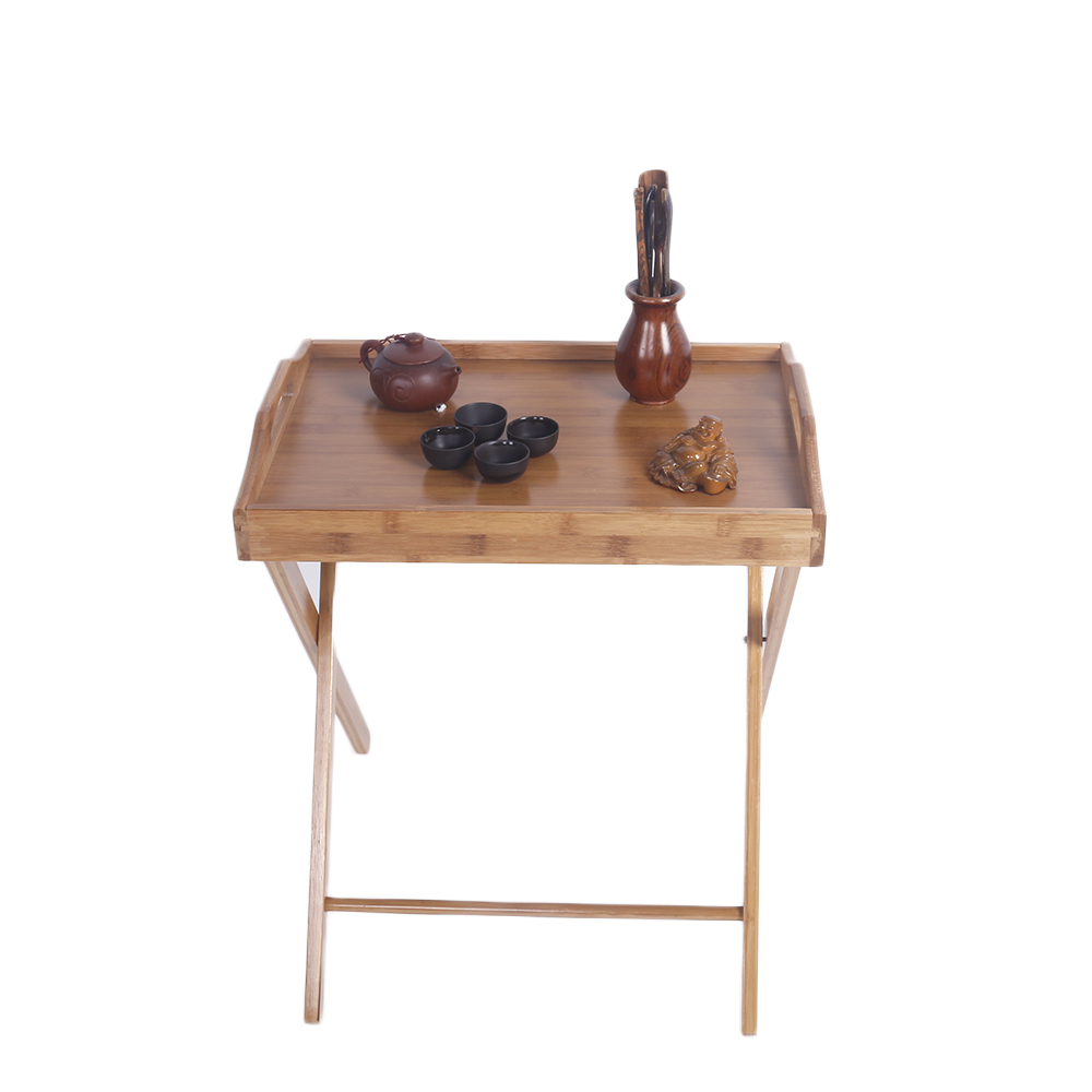 Bamboo Folding Wood Tv Tray Dinner Table Coffee Stand Serving