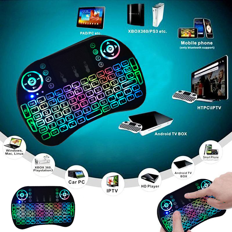 Black Wireless Mini Ultra Slim Keyboard and Mouse For Easy Smart TV Contol for Panasonic TH-L42DT50D Smart TV