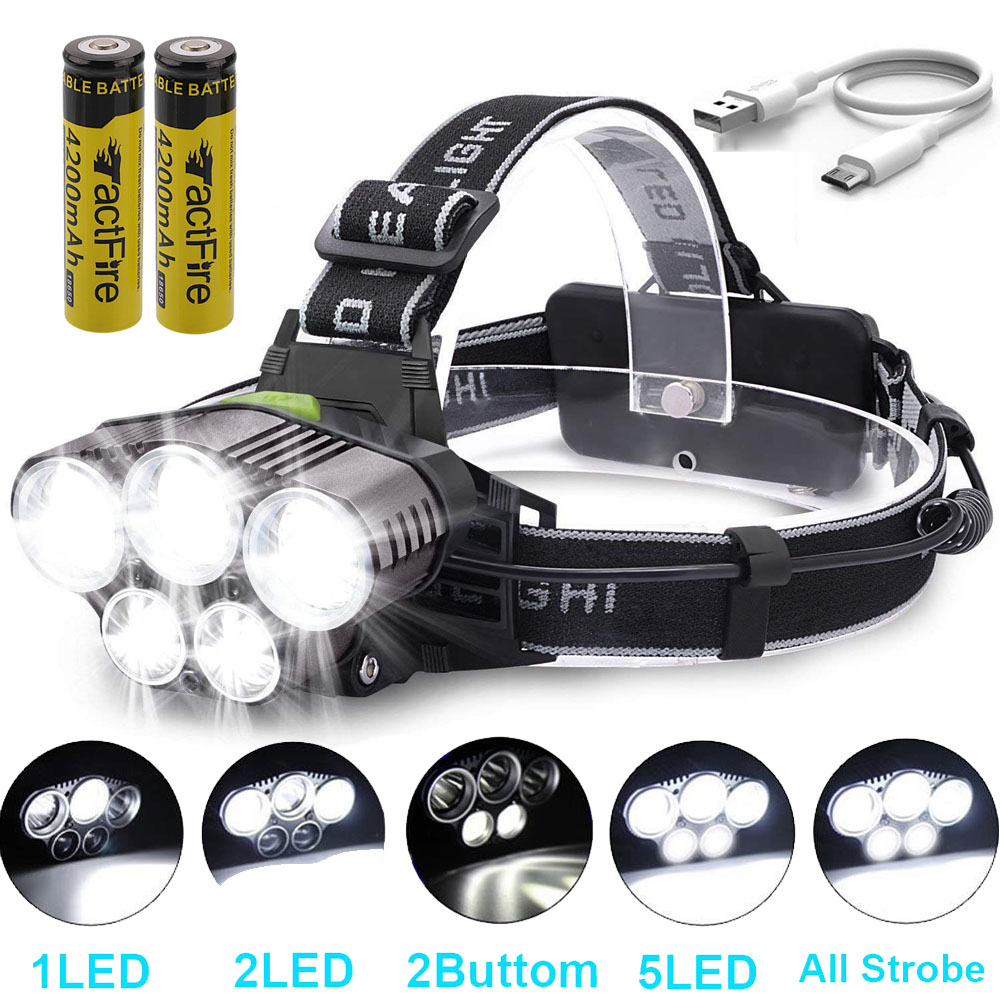 80000LM 5x LED Headlamp Headlight Rechargeable Light+USB Cable+18650 Battery