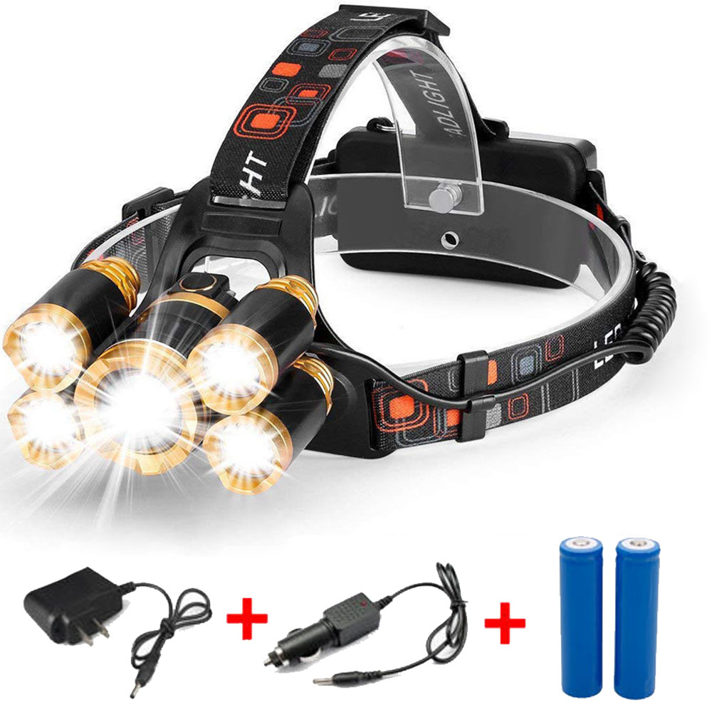 5 LED Head Light Torch Lamp Outdoor Headlamp Rechargeable Flashlight 100000LM