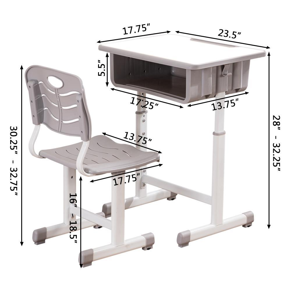 Adjustable School Student Desk and Chair Set Child Study ...