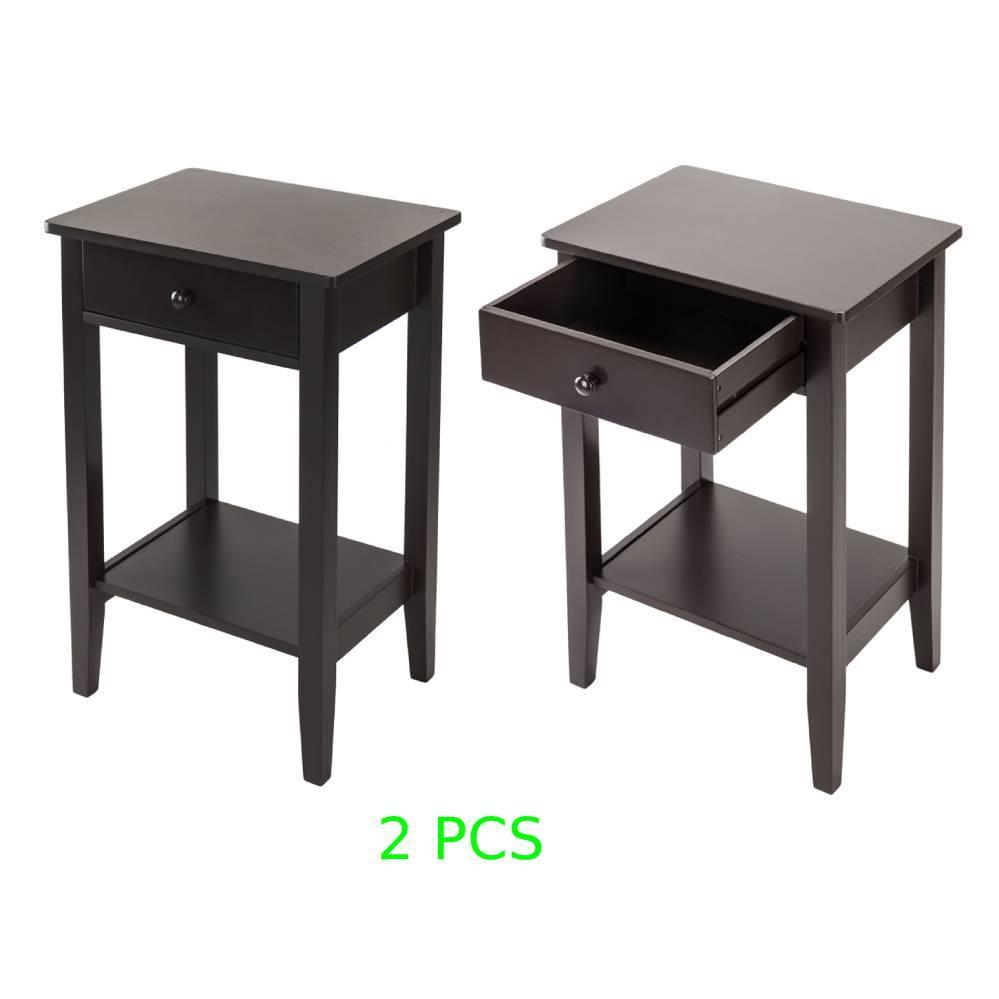 Bedroom Bedside Furniture Nightstand Set of 2 End Table Shelf Drawer white