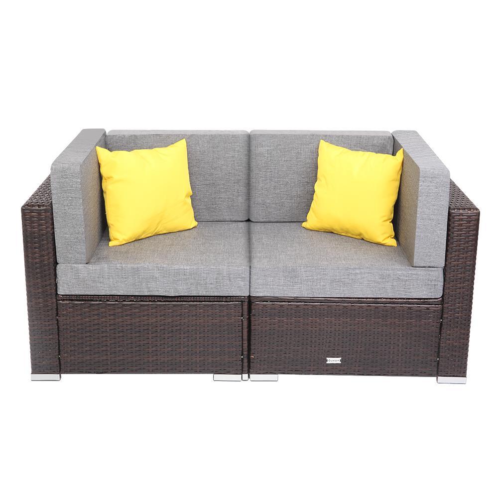 Details about 11PC Patio Rattan Wicker Corner Sofa Furniture Garden Outdoor  Yard Sectional Set