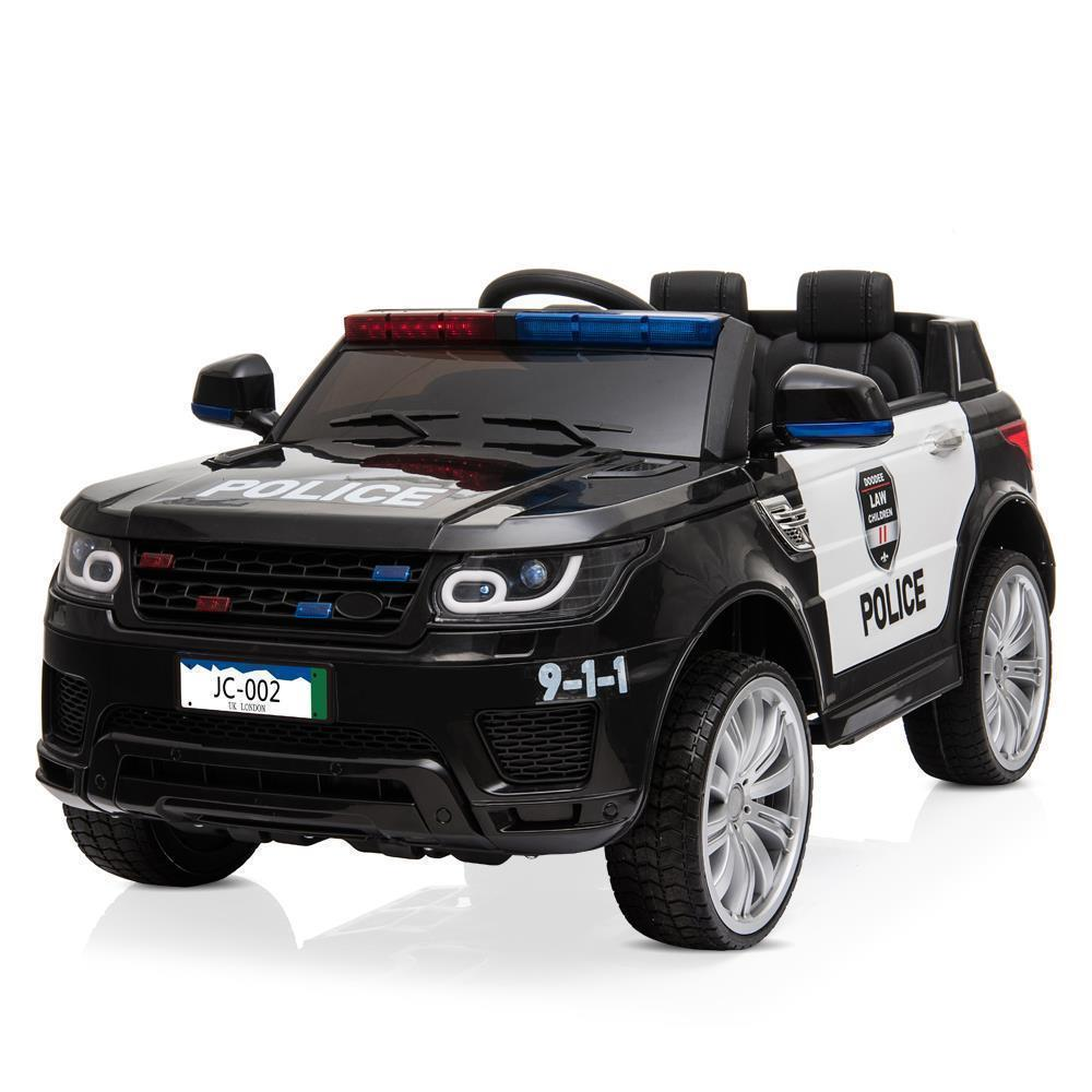 12V Kids Police Ride-On Car 3 Speed Lights Music Sirens Remoted Control Black