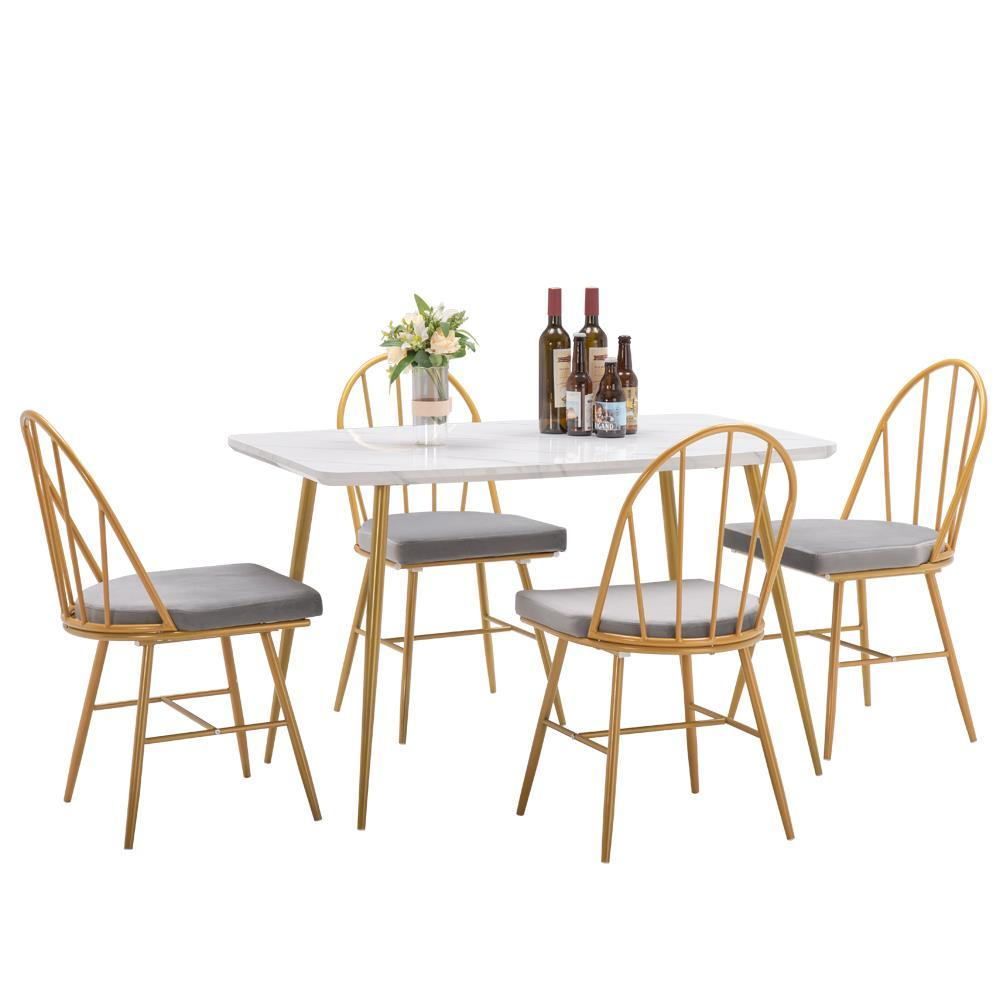New 5 Piece Dining Table Set 4 Dining Chairs Marble Dining Table Dinner Kitchen Ebay