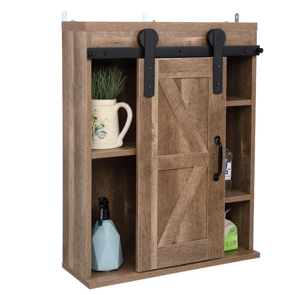 Rustic Bathroom Cabinet Wall Mounted Wooden Storage Shelves Organizer Furniture Ebay