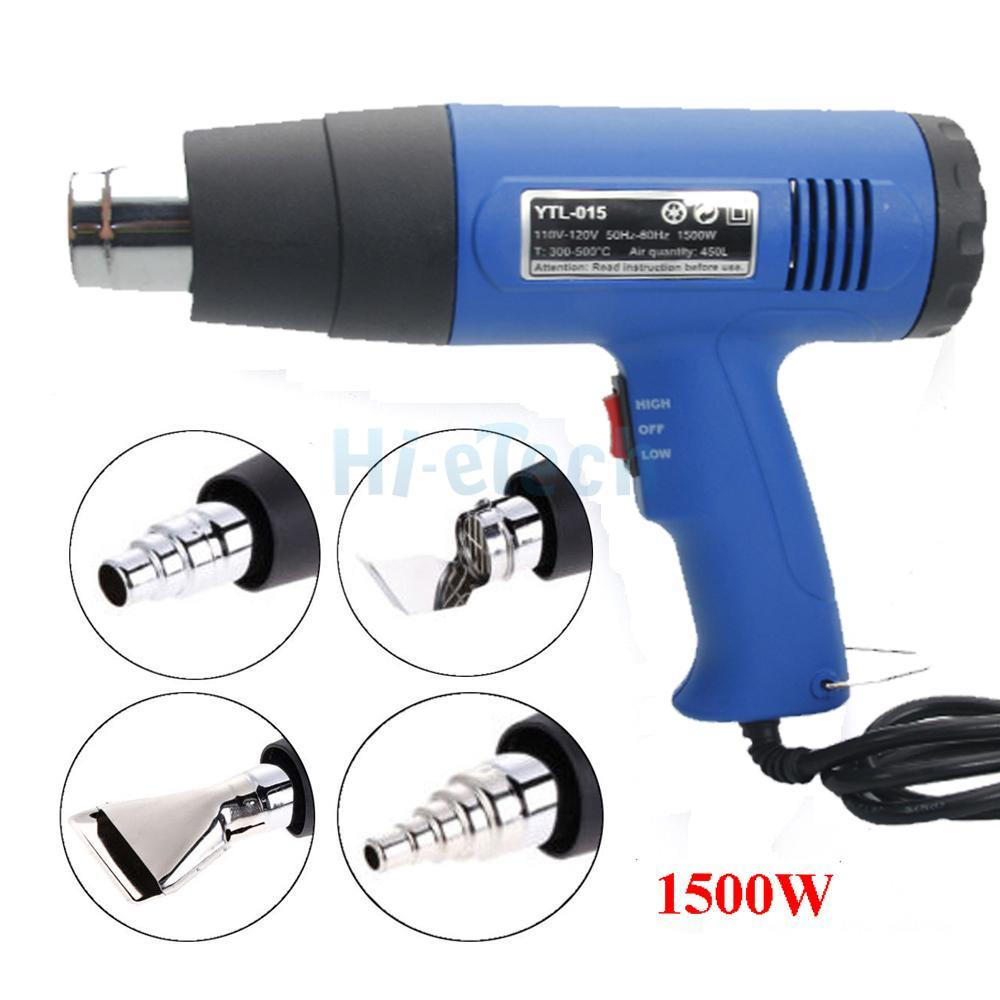 4pcs Stainless Steel Concentrator Tips 1500W 110V Dual-Temperature Heat Gun
