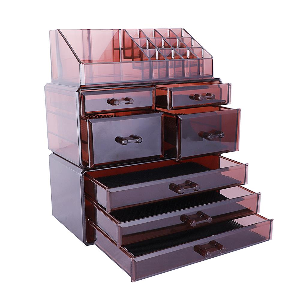 Clear Acrylic Jewelry Organizer Drawer Makeup Box Display Holder Storage Brown Ebay