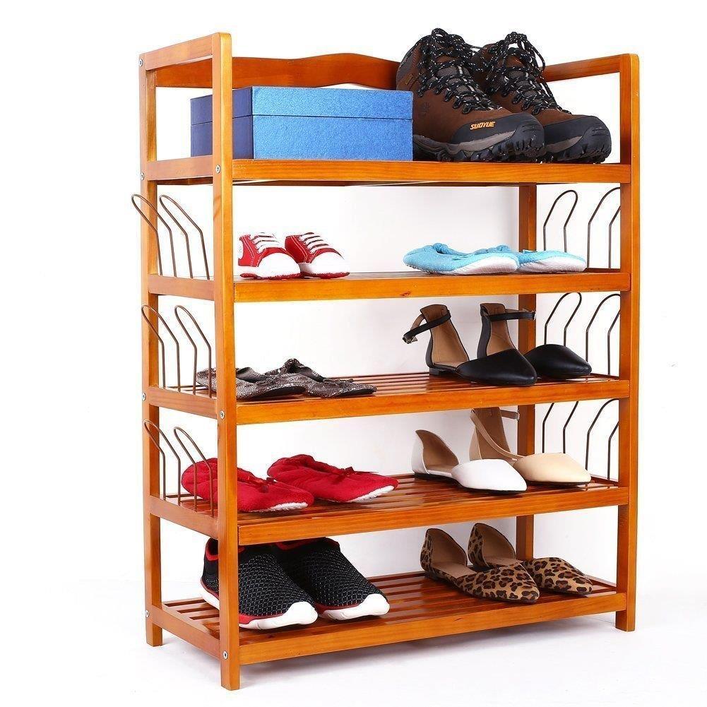 5 Tier Shoe Rack 6 Pairs Shoe Shelf Storage Organizer Entryway Wooden Furniture Ebay