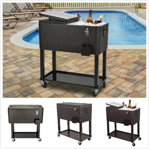 Outdoor Rattan 80QT Party Portable Rolling Cooler Cart Ice Beer Beverage Chest