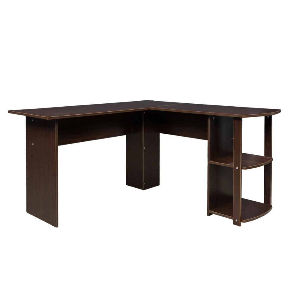 Details about FCH Office L-Shaped Computer Desk Corner Laptop PC Table  Bookshelves Dark Brown