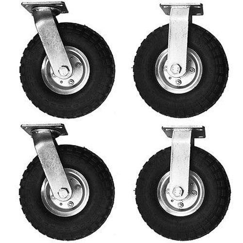 "4x 10/"" Pneumatic Castor Wheels 2 fixed New Caster 2 swivel"