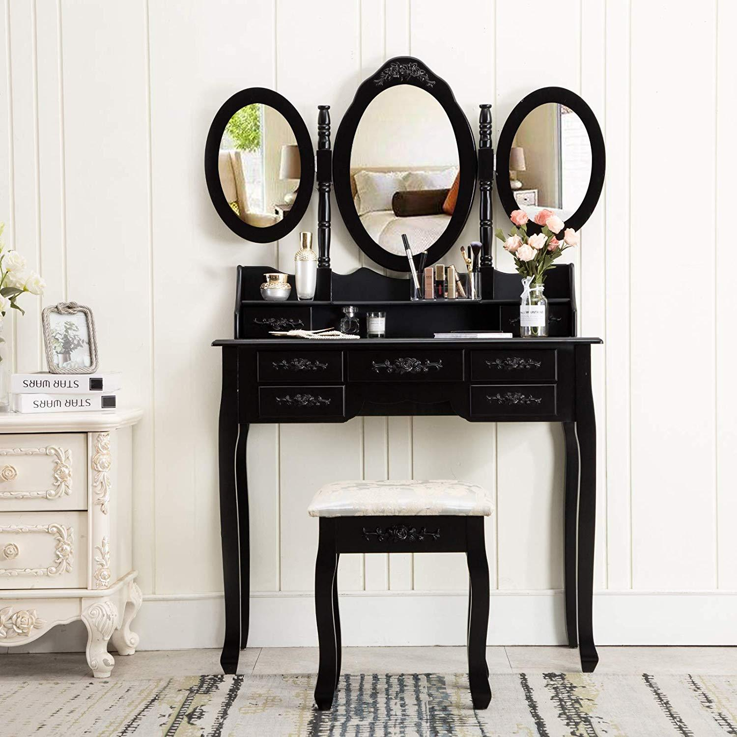 Modern Dressing Table Set with Flip-up Mirror Wood Makeup Table Vanity Console Dresser with Stool Bedroom Furniture Girls Gift Black and White