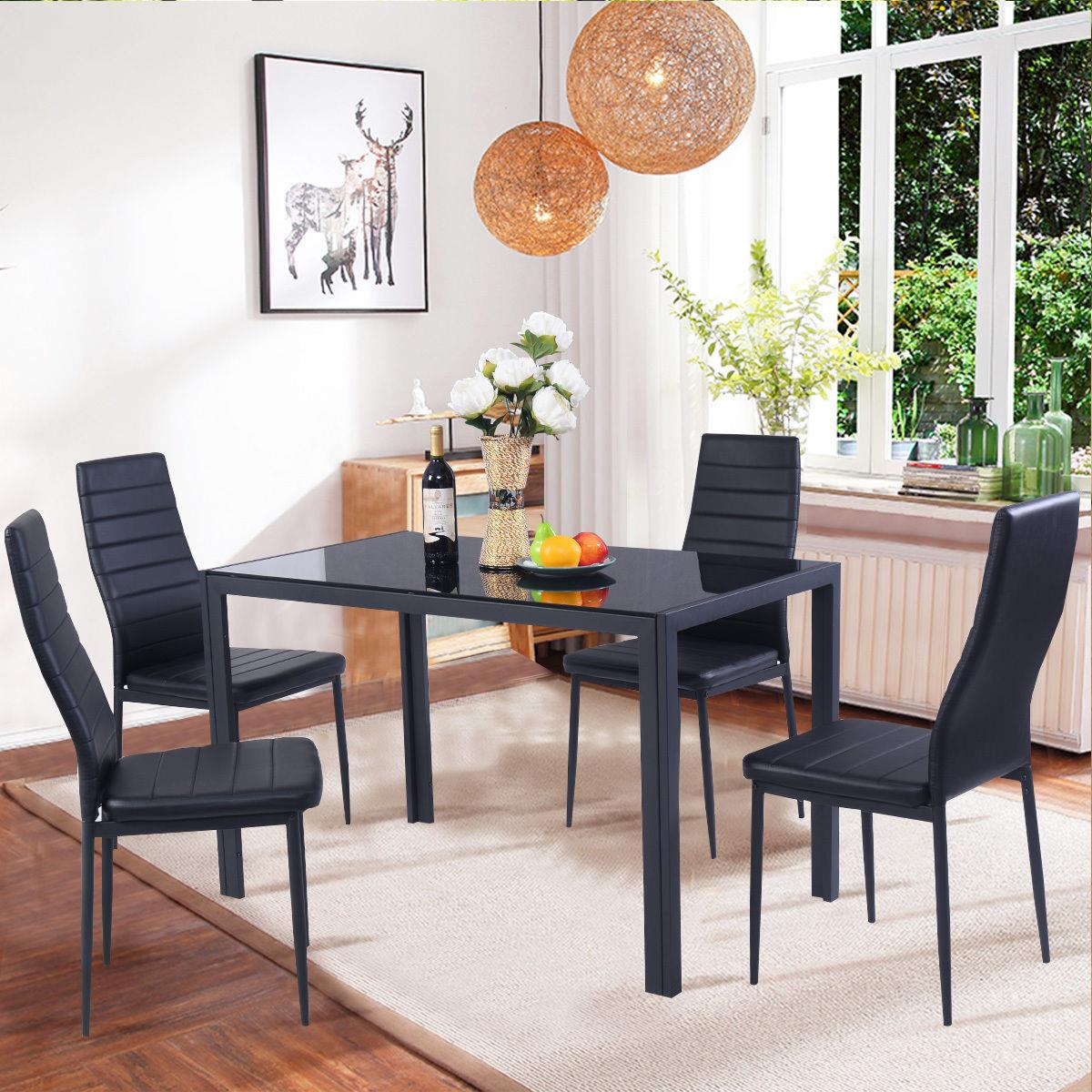 Set Of 5 Pcs Dining Table 4 Chairs Metal Glass Kitchen Room Breakfast New 603047900243 Ebay