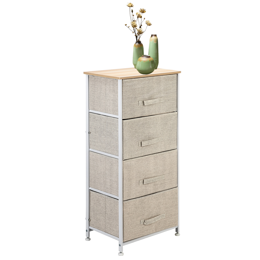 4 Tier 4 Drawer Fabric Cabinet Bedside Table Storage Unit Metal Rack Closet