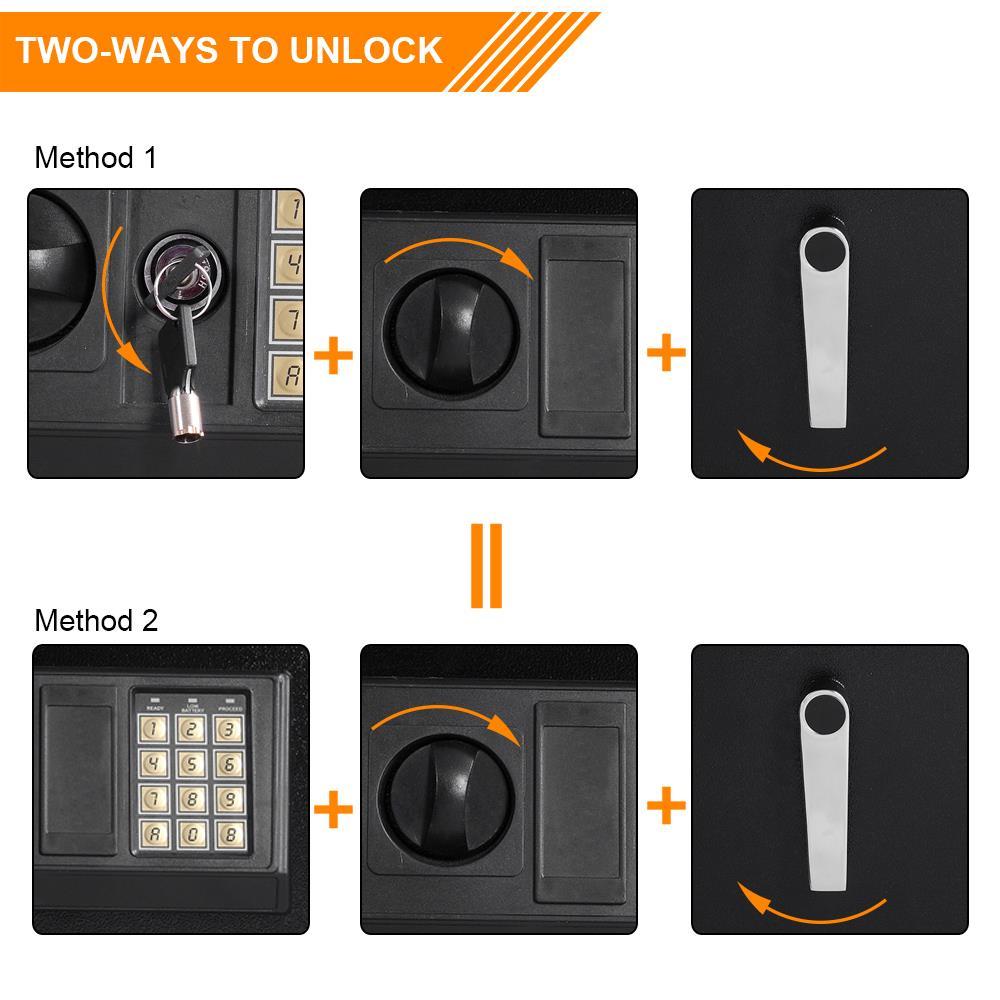 Security 5 Gun Rifle Shotgun Pistol Electronic Lock Keys Storage Safe Box Black