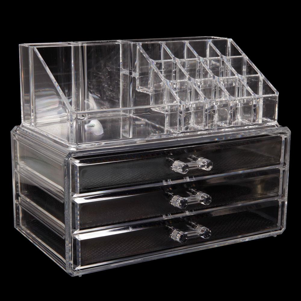 3 Tier Drawers Makeup Cosmetics Jewelry Organizer Acrylic Display Box Storage 763741341169 Ebay