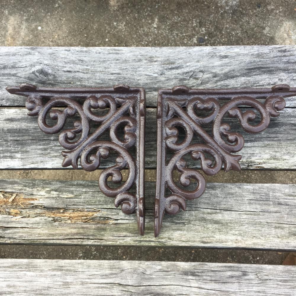2 X ORNAMENTAL SHELF BRACKET BRACE Vintage Rustic Antique Brown Cast Iron CJ001
