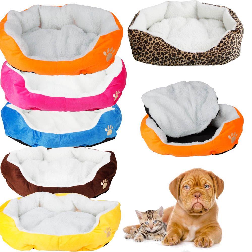 Small Medium Pet Dog Puppy Cat Soft Fleece Cozy Warm Nest Bed House Cotton Mat
