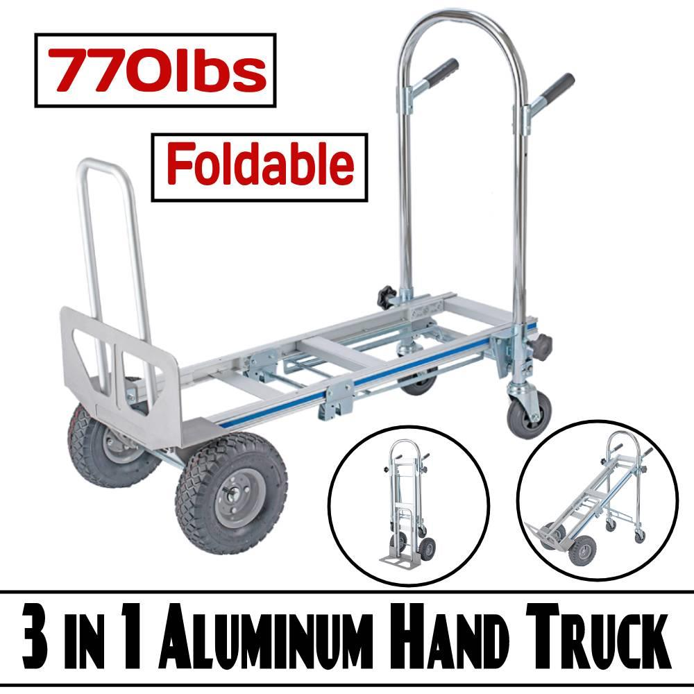 Outdoor Utility Foldable Collapsible Aluminum Cart Dolly Push Hand Truck Trolley