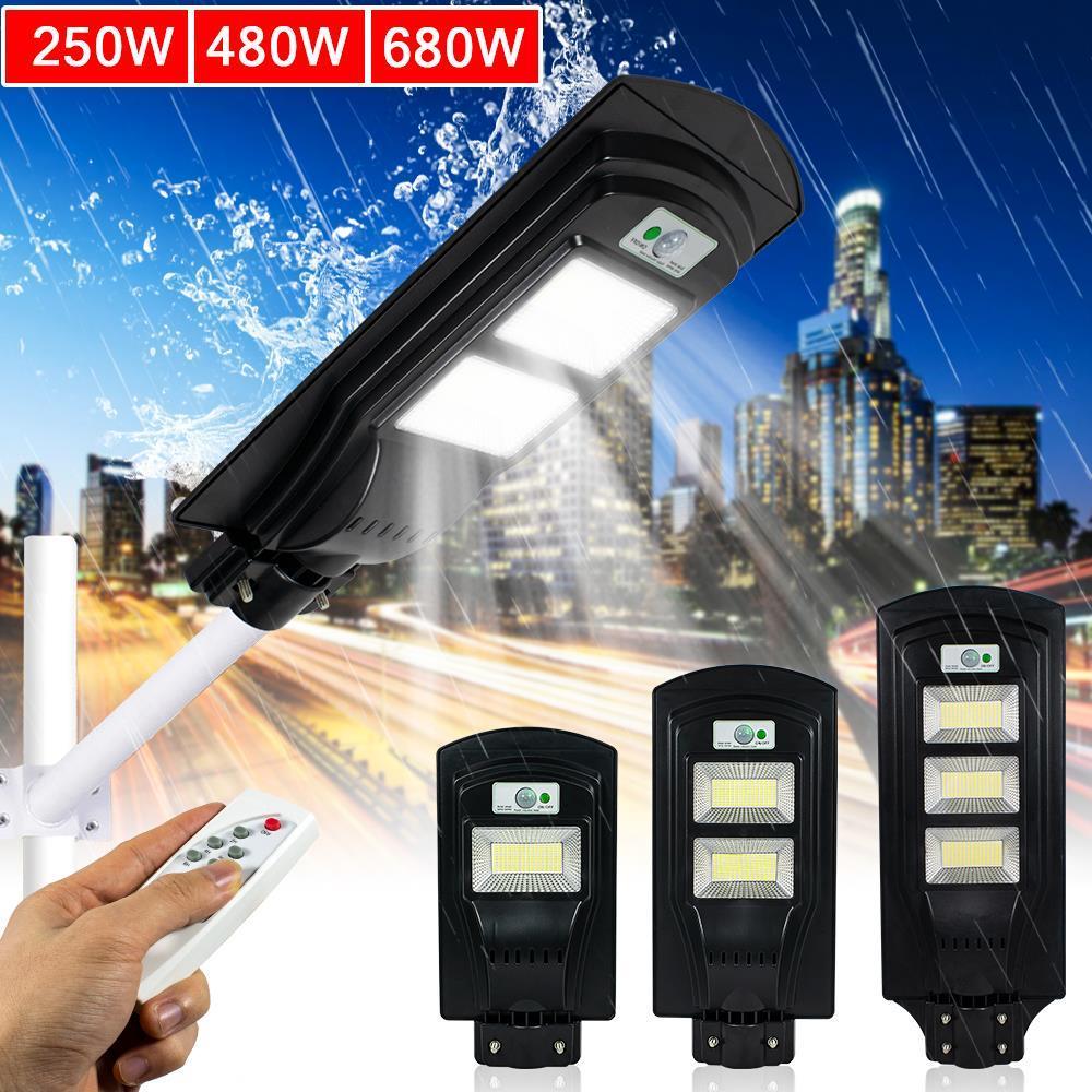 680W LED Solar Wall Street Light Radar Induction PIR Motion Sensor Outdoor Lamp