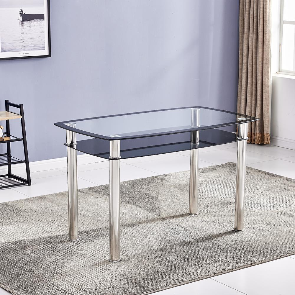 Popular Glass Coffee Table With Shelf Metal Leg Living Room