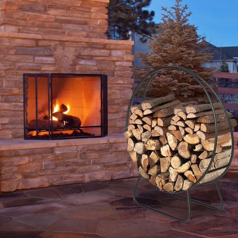 Large 40/'/' Tubular Steel Log Hoop Firewood Storage Rack Holder Round Display