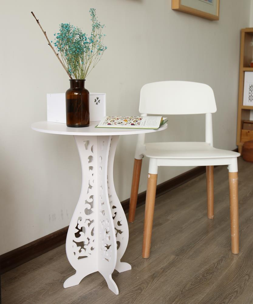 Details about Accent Round Coffee Tea Sofa Side Table Living Room Furniture  Home Decor White