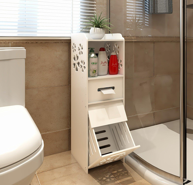 Slim Bathroom Storage Cabinet Floor Standing Narrow Cupboard Shelf Toilet White Ebay