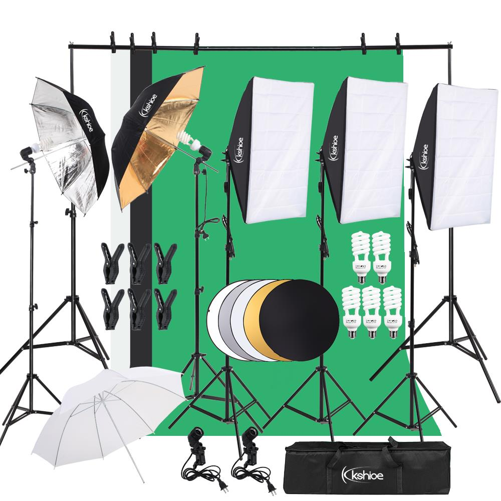 Green Backdrop /& Stand Fodoto 3-Point Photo Video Continuous Umbrella Lighting Kit