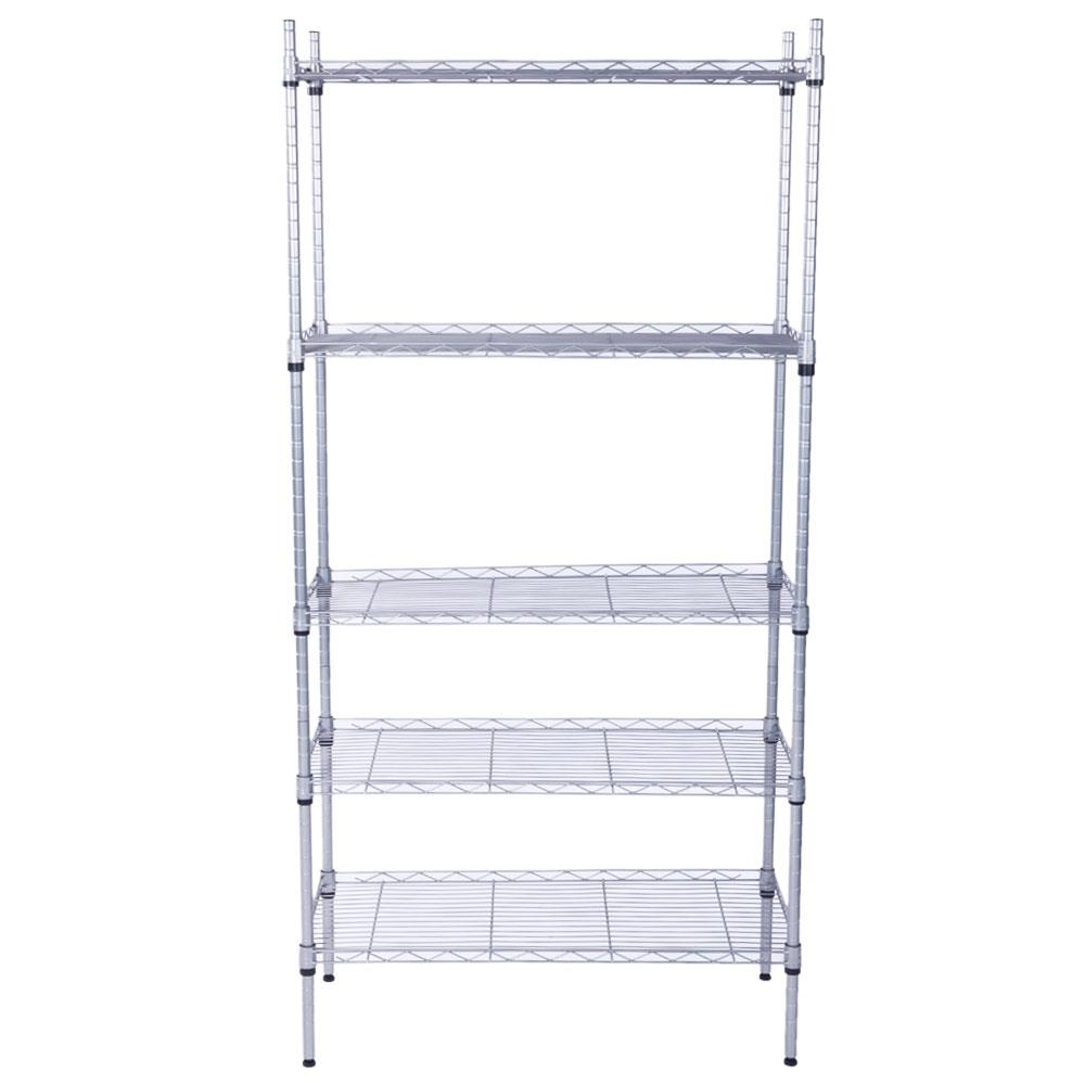 4//5-Shelf Steel Wire Tier Layer Shelving Rectangle Carbon Steel Metal Assembly
