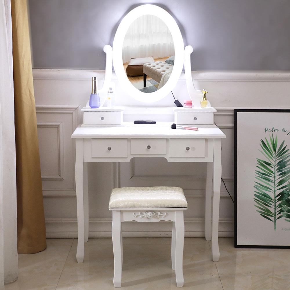 Details about Vanity Table 10 LED Lights 5 Drawers Makeup Dressing Desk Set  Bedroom Vanities