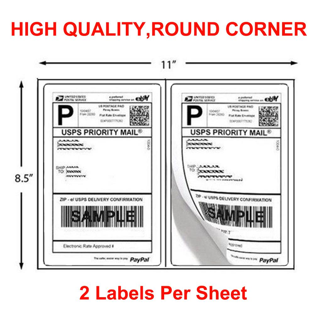 10000 Half Sheet Shipping Labels 8.5x5.5 Round Corner Self Adhesive for USPS UPS